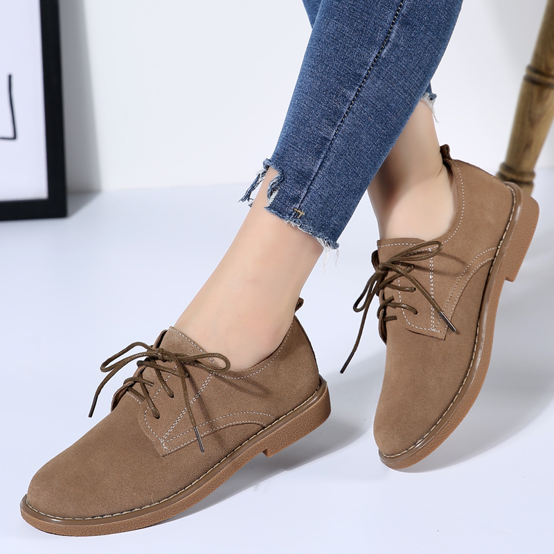 JZZDDOWN women's genuine leather shoes Autumn women oxford shoes Plus Large Size Cow Suede Ladies shoes woman sneakers footwear title=