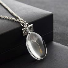 Fashion Real Natural Dandelion Seed Crystal Glass Ball Necklace Oval Glass Pendant Necklace Make A Wish Glass Bead Jewelry(China)