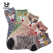Uskincare 5 Pairs /lot Women Socks Thermal Socks Cotton Breathable Female Casual Cartoon 3d Ladies Casual Home Warm Socks(China)