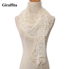 Women Lace Cape Scarf Ultra Long Milk Silk Tassel Cutout Crochet Cashers Three-dimensional Bohemia Flower White Scarves Shawls(China)