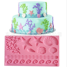 Coral Starfish Star Ocean Silicone Mold Fondant Cake Food Party Lace Decor Mat 2015 New Arrival Promotion E003(China)