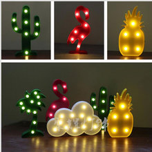 Cute Letter Flamingo Led Night Light for baby Pineapple Pendant lamp Cactus Wall Lamp Marquee LED For Home Christmas decoration(China)
