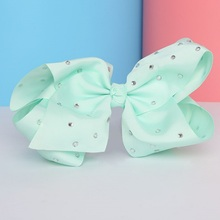 8'' Big bowknot Girls Hair Band Satin Ribbon hairpin with diamond girl barrette large solid color bow hair clip jojo Headband