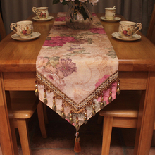 Vintage Elegant Table Runners European Style Peony Floral Jacquard Luxury Table Runner 30x180cm for Table Decoration(China)