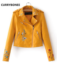 CURRYBONEE Women Jacket Casual Floral Embroidery Cardigan Shirt Leather Motorcycle Jacket lapel Zipper Coat(China)