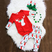2017 Christmas Newborn Baby Girl Xmax Clothes Long Sleeve Deer Bodysuit Tops+Pant Legging Bow Hat 3PCS Kids Clothing Set 0-24M