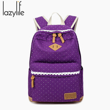 LAZYLIFE Women Backpack for School Teenagers Girls School Backpack Vintage Stylish Ladies Bag Backpack Female Dotted Printing(China)