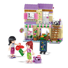 389 PCS City Friend girls club princess doll houses Heartlake Food Market Building Blocks Compatible with legoinges(China)