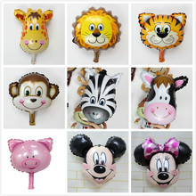 HOT selling 1piece animal Balloons small size Animal Zebra Deer Lion Monkey Cow Foil  Balloons air ballon Birthday Decoration