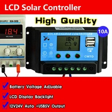 10A 12V/24V Dual USB Solar Controller Auto LCD Dispaly PWM Solar cell panel Charge Battery regulator Solar kit Solar lighting