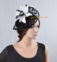 NEW White black Sinamay Fascinator w/ polka dot feather flower for Kentucky derby wedding races party.FREE SHIPPING