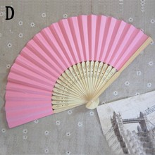 Chinese Summer Hand Paper Fans Pocket Folding Bamboo Fan Wedding Party Favor()