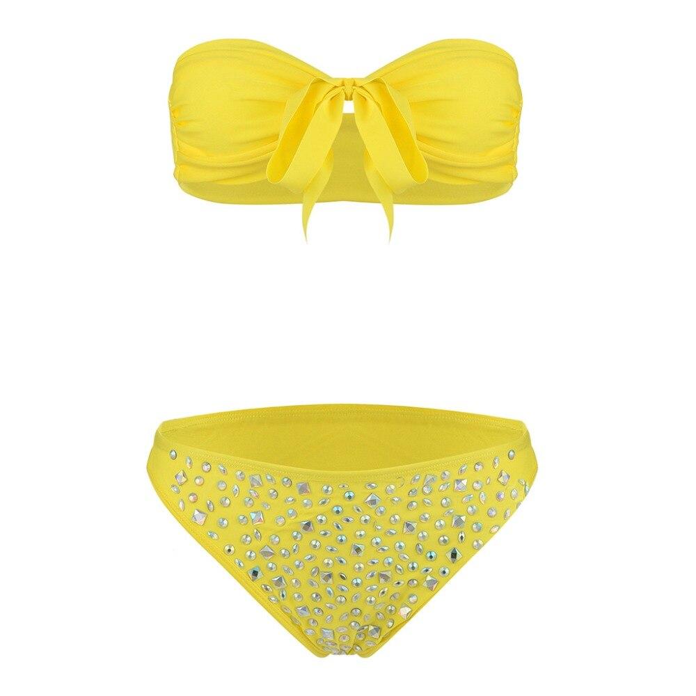 Women Sexy Diamond Rhinestone Solid Bikinis Set Women Swimwear Swimsuit Bathing Beachwear 17 15