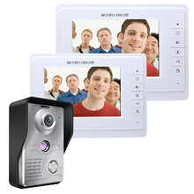 "New Wired 7"" Color Screen Video Door Phone Intercom System + 1 Waterproof Door Camera + 2 White Monitor Free Shipping"