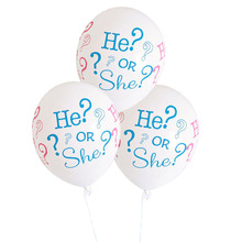 "10pcs/lot 12inch ""she or he "" latex balloon for baby shower girl/boy Children Kids Party Balloons decoration Lowest Price(China)"