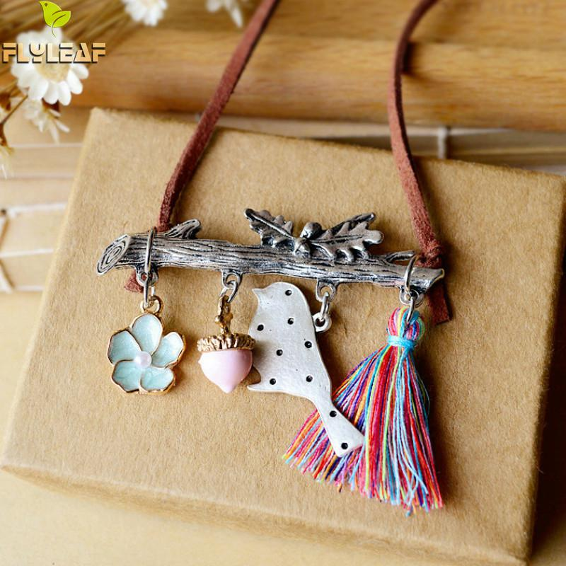 Flyleaf Handmade Bird Tassel Leather Chain Long Necklaces & Pendants Women Vintage Style High Jewellery