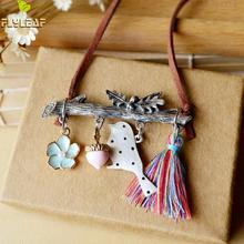 Buy Flyleaf Handmade Bird Tassel Leather Chain Long Necklaces & Pendants Women Vintage Style High Jewellery for $2.21 in AliExpress store