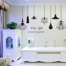 2017 new black ceiling lamps wall stickers decals modern pendent lights wallpapers murals women men home rooms DIY decoration