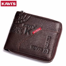 KAVIS Men Leather Wallets Card Holder Zipper Designer Male Purse Wallet High Quality Business Wallet Men Carteira Masculina