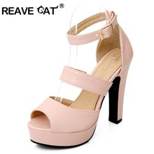 REAVE CAT Factory Discount Peep toe High-heeled shoes Thick heel Platform Women's hasp formal Sandals Big size 32-43 Pink PL445(China)