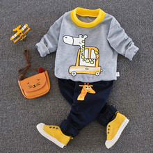 kids Clothing 2pcs Autumn boys Clothes Set Cartoon Boys T Shirt+Pants 2pcs suit Long sleeves sport baby boys set(China)