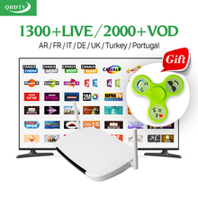 Android Europe Smart TV Box Media Player With 1 year 1300+ European HD IPTV Channels IPTV Arabic Italy French Turkish IPTV Box