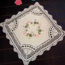 yazi 4PCS Handmade Table Placemat Cotton Hollow Floral Doily Pads Crochet Square Table Mat Table Cover Tablecloth Home Decor