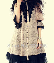 Edgension Classic Gothic Lolita Lace Chiffon Dress With Butterfly Sleeves Women New 2018 Spring Fashion Silk Dresses
