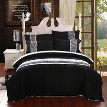 100% Cotton Bedclothes Black with White Striped Duvet Cover Set Queen King Size Embroider Bed Linen Bedding Set Bedspread
