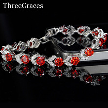 Fashion 925 Sterling Silver Bracelet Jewelry Luxury Zirconia Hot Red Flower Crystal Charm Bracelets Bangles For Women BR98