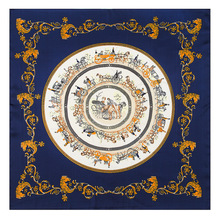 60x60cm Fashion Style 100% Silk Scarf Women Twill silk Royal Carriage Travel Picture NeckerChief Bandana Small Square Scarf(China)
