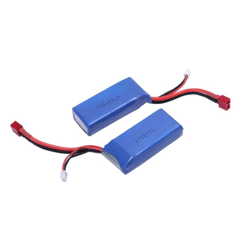 2x 7.4V 2700mAh Lipo Battery T Plug For Wltoys 10428-A 10428-B RC Car Truck akuu