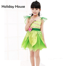 Cute Green elf Sprite Dress Neverland Tinkerbell Garden Fairy Kids Costume Lovely Woodland Girl Little Fairy Costume Dress