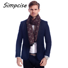 [Simpcise] Stylish Man Warm Long soft Winter Scarf Unique Design Man Soft Touch No Skin harm Neck Wraps Coffee color A3A18906(China)