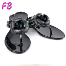 Jelly Flip Flops Designer Camellia Jelly Slippers Summer Women Beach Sandals Flats Crystal Flower Sandals 2017 Free Shipping