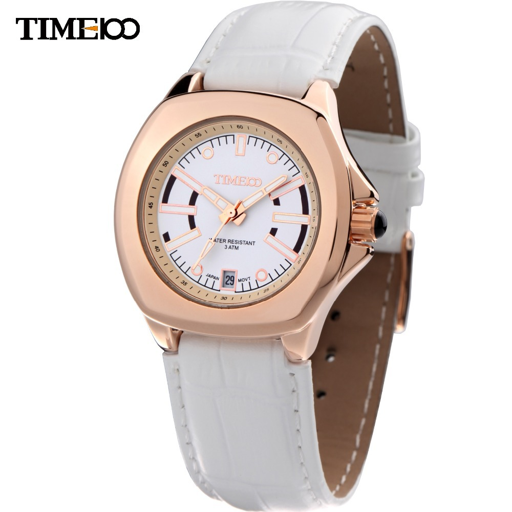 Time100 Luxury  Elegant Womens Watch Alloy Case Luminous Hands White Leather Strap Ladies Business Wrist Watches W50038L.01A<br>