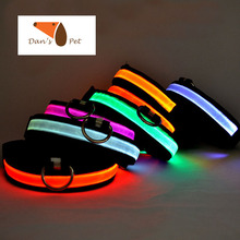 Nylon Colorful Pet 3 Flash Modes LED Dog Collar,Night Safety Flashing Pet Goods Direct Chain For Dog Cat Rabbit Collars Harness(China)