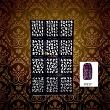 1PC Easy Use Black Nail Art Stencil Guide Arabic Number Designs HBJV217 Letter Pattern Hollow Nail Sticker Vinyls Manicure Tools