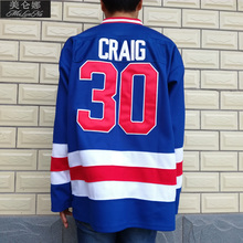 MeiLunNa Christmas Black Friday 1980 Miracle On Ice Team USA #30 Jim Craig Blue Hockey Jersey 3001