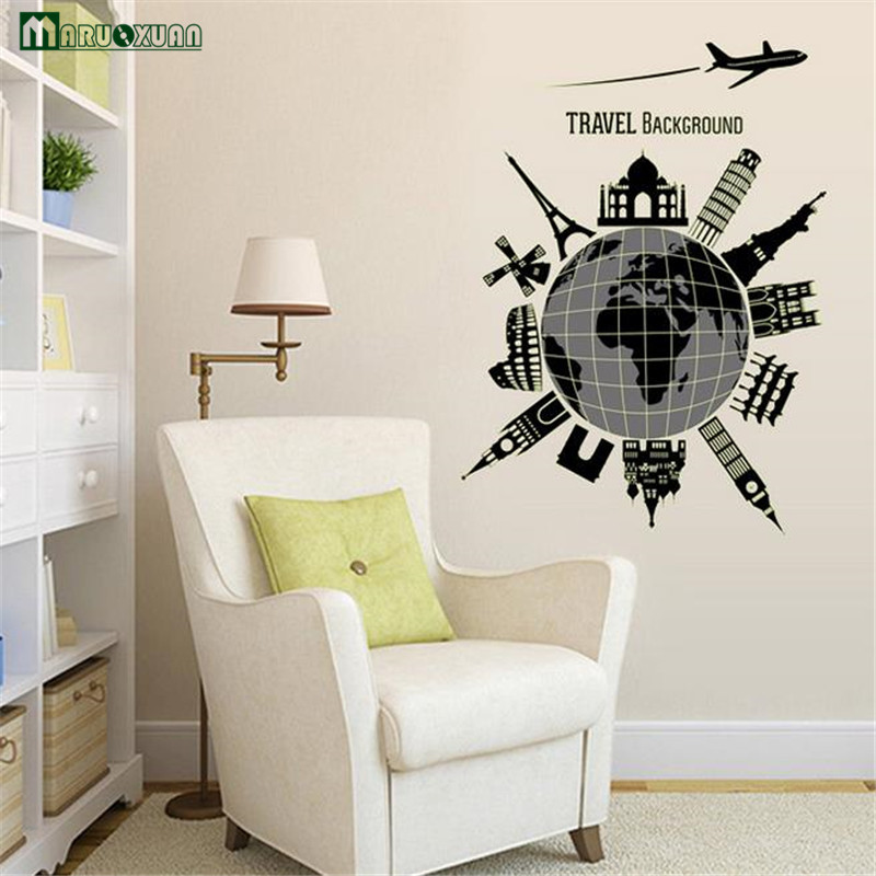 1 Pcs World Map Vinyl Wall Stickers Fluorescent Wall Decor Removable