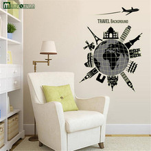 "1 Pcs World Map Vinyl Wall Stickers Fluorescent Wall Decor Removable Make Your Own Wall Decal For Bedroom ""travel Background"""