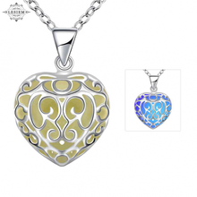 women love heart gift Glow in the Dark Pendant necklace with 50cm chain blue green pink Jewelry  Fluorescence Necklace  XL96