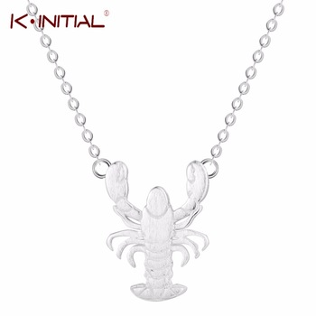 Kinitial Animal Necklace 925 Sterling Silver Tiny Lobster Pendants & Necklaces Jewelry Lovely Gift Women Girl
