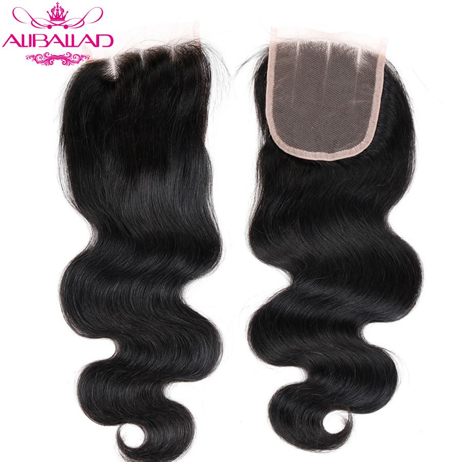Aliballad Brazilian Body Wave Lace Closure Three Part 4X4 Natural Color Non-Remy Hair Closure 100% Human Hair 2