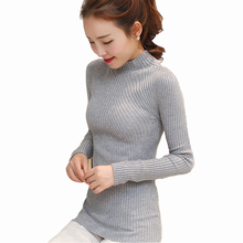 Everkaki 2017 Winter Women sweater Long Sleeve high elastic Knitted Pullovers Sweater Women Turtleneck Autumn Sweater Slim Warm(China)