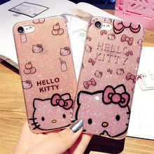 "For""Disney"" Cartoon HELLO KITTY Plastic Back Covers Soft Silicone Shining Protective KT Cases Coque Funda For iPhone6 6S 7 7Plus"