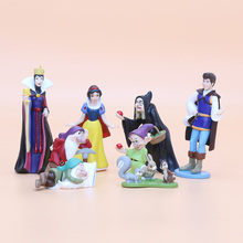 8pcs/set 3-8cm PVC Princess Snow white Snow White and the Seven Dwarfs Queen Prince Figure Mode Toy doll kids gift