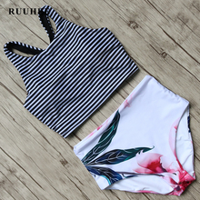 RUUHEE Bikini 2017 Black Swimsuit Women High Waist Bikini Set Padded Swimwear Push Up Bathing Suit Summer Beach Swimming Suit(China)