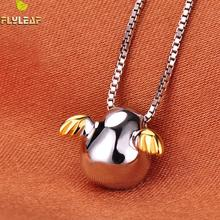 Flyleaf 925 Sterling Silver Angel Egg Necklaces & Pendants For Women Cute Girl Prevent Allergy Sterling-silver-jewelry(China)
