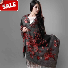 Fashion Women large warm soft thick scarf / knitting jacquard two side use /cashmere tassel scarves 70*190cm / Wholesale